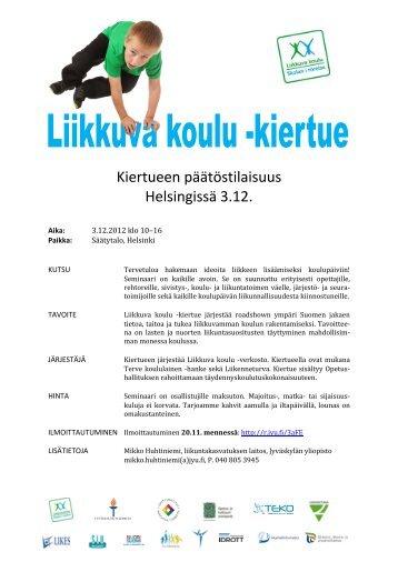 Kiertueen päätöstilaisuus Helsingissä 3.12. - Etelä-Suomen Liikunta ...
