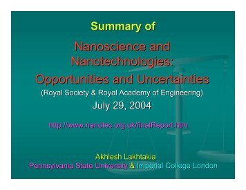 Nanoscience and Nanotechnologies: Opportunities and Uncertainties