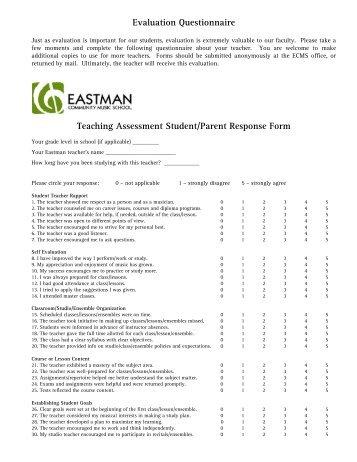 Teacher Evaluation Form - Eastman School of Music