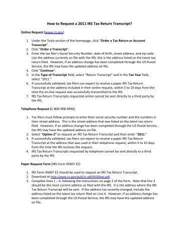 Business Tax Request Business Tax Return Transcript