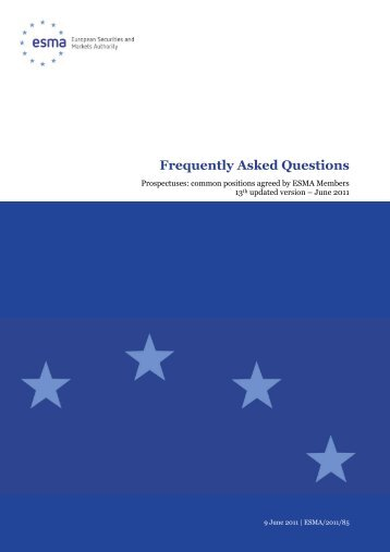 Frequently Asked Questions - Esma - Europa