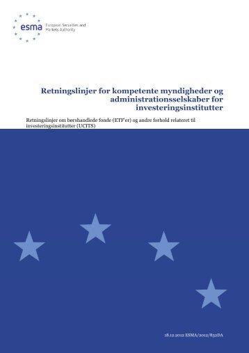 Retningslinjer for kompetente myndigheder og ... - Esma - Europa