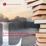 Literatur in Schwerte: Programm von September bis Dezember 2013
