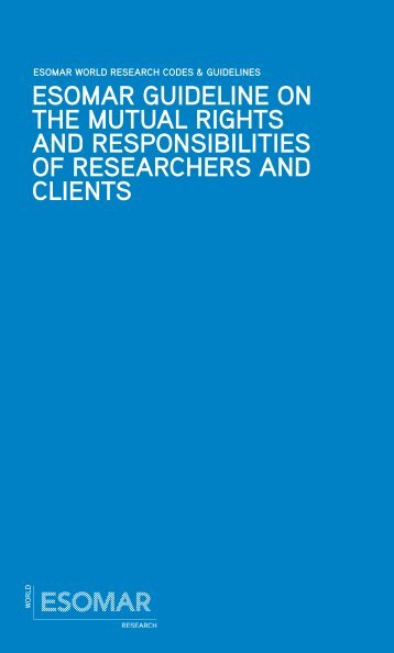 ESOMAR Guideline on the mutual rights and responsibilities