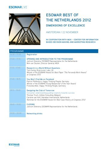 """Best of"" - Holland 2012 - Programme PDF - ESOMAR"