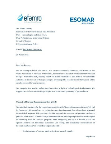 Response to the Council of Europe public consultation ... - Esomar