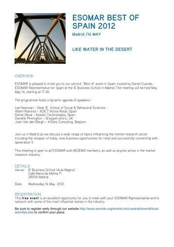 "ESOMAR ""Best of"" - Spain 2012 - Programme PDF (156 Kb)"