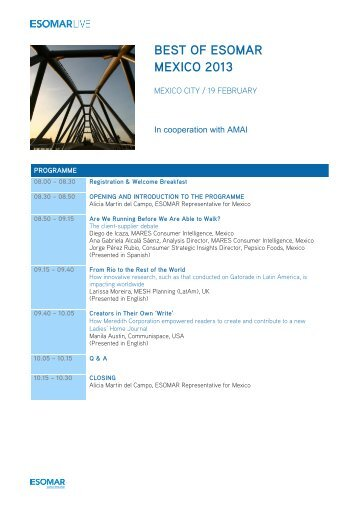 """Best of"" - Mexico 2013 - Programme PDF - ESOMAR"