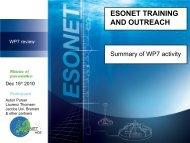 Training and Outreach website (D49) - ESONET NoE