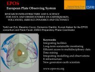 EPOS Research Infrastructure and synergy with EMSO - ESONET NoE