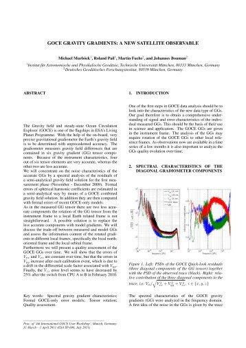 goce gravity gradients: a new satellite observable - Institut für ...