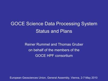 GOCE Science Data Processing System