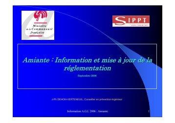 Amiante : Information et mise à jour de la réglementation