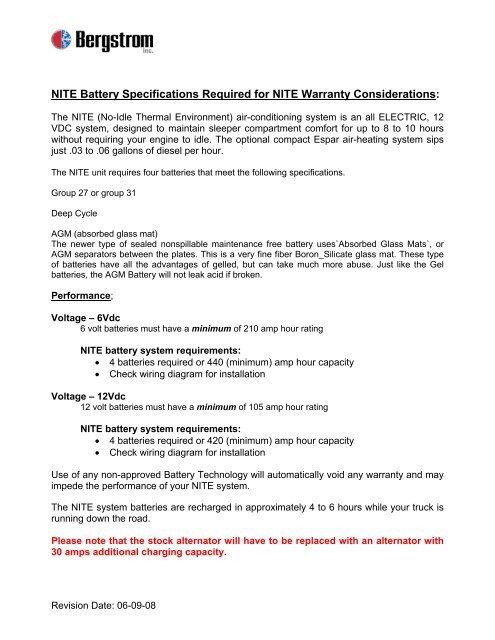 NITE Battery Specifications Required for NITE Warranty ... on