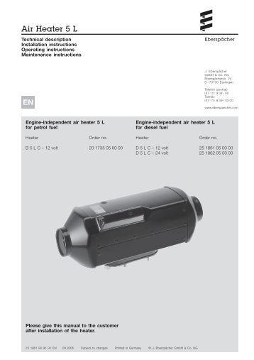 Eberspacher d3lc manual
