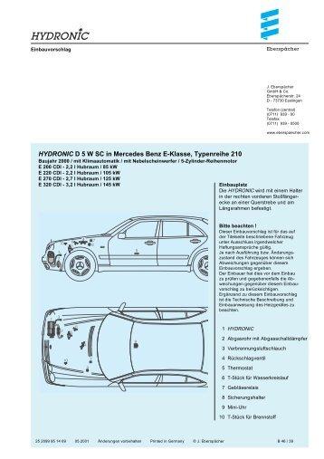 HYDRONIC D 5 W SC in Mercedes Benz E-Klasse ... - Espar