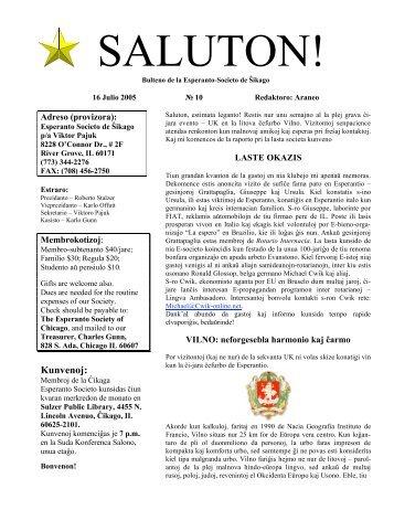 Kunvenoj: - Esperanto Society of Chicago