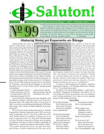Historiaj Notoj pri Esperanto en Ŝikago - Esperanto Society of Chicago