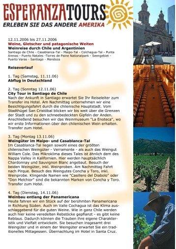 12.11.2006 bis 27.11.2006 Weine, Gletscher und ... - Esperanza Tours