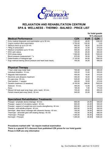 spa & wellness price list - Hotel Esplanade
