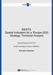 SIESTA Spatial Indicators for a 'Europe 2020 Strategy' Territorial ...