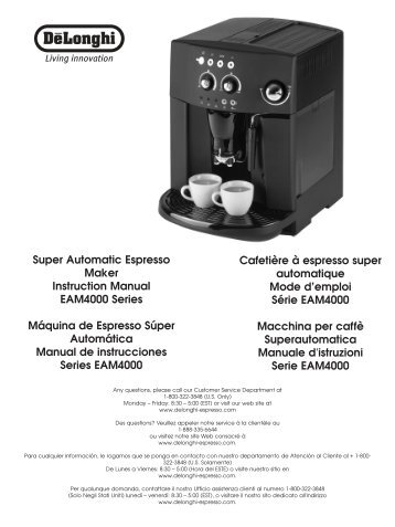 Super Automatic Espresso Maker Instruction Manual EAM4000 ...