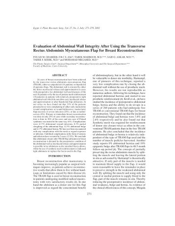 Evaluation of Abdominal Wall Integrity After Using the ... - ESPRS