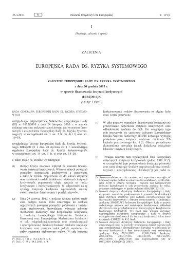 Zalecenie Europejskiej Rady ds. Ryzyka Systemowego z ... - Europa