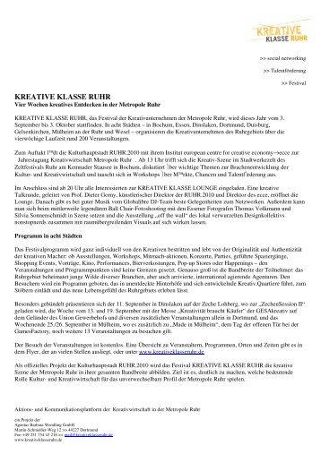 KREATIVE KLASSE RUHR Information - Ruhr 2010