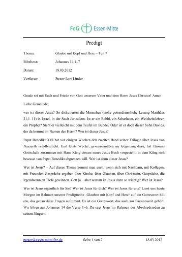 Glaube mit Kopf und Herz – Teil 7 - Freie evangelische Gemeinde ...