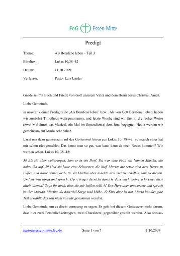 Als Berufene leben – Teil 3 - Freie evangelische Gemeinde Essen ...