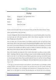 Predigtreihe – der Epheserbrief, Teil 6 - Freie evangelische ...