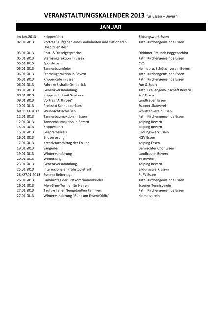 VERANSTALTUNGSKALENDER 2013 für Essen + ... - Essen-Oldb