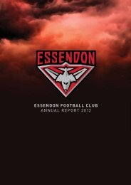 ESSENDON FOOTBALL CLUB ANNUAL REPORT 2012