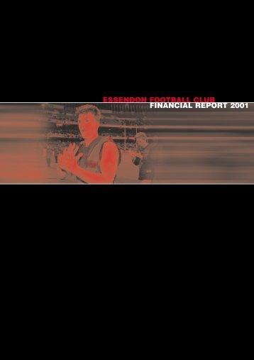 ESSENDON FOOTBALL CLUB FINANCIAL REPORT 2001