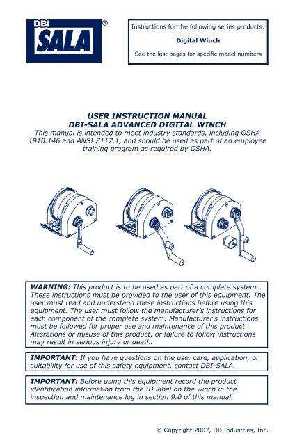 Dbi sala user manuals