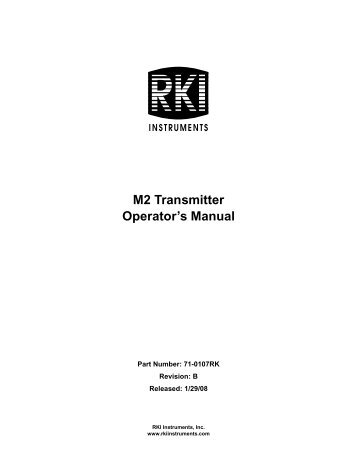 M2 Transmitter Operator's Manual - Essential Safety