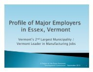 Profile of Major Employers in Essex, Vermont - Town of Essex ...