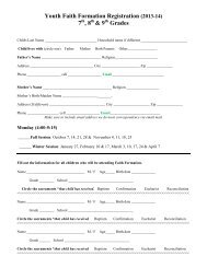 Youth Ministry Registration and Forms - St. John the Evangelist Parish