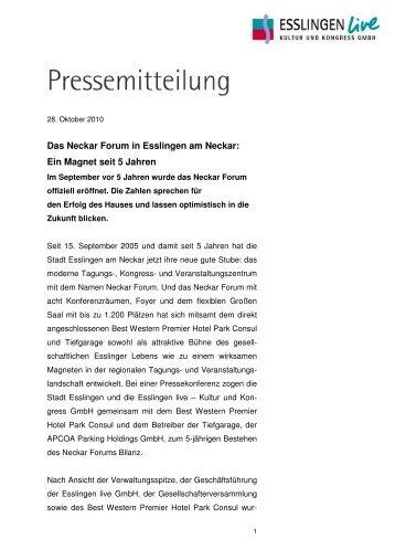 2010-10-28 Neckar Forum 5jähriges Bestehen - bei Esslingen live ...