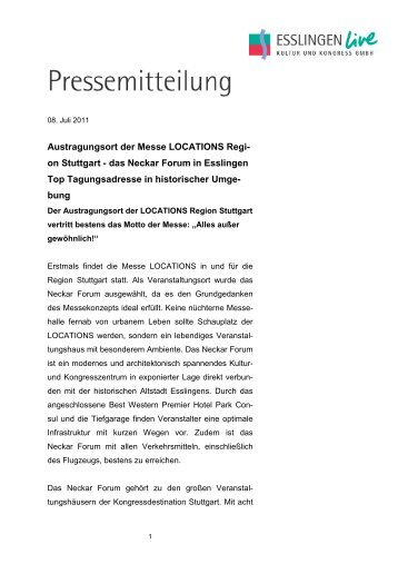 Presseinformation Neckar Forum - Austragungsort der LOCATIONS ...