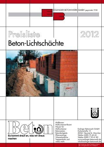 2012 Preisliste - Esslinger Betonwerk GmbH