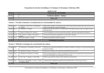 Programme des Journées Scientifiques et Techniques en ... - esstt