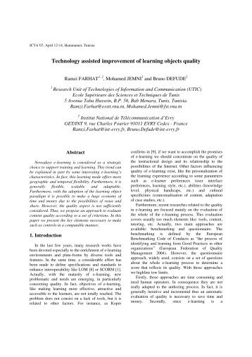 Technology assisted improvement of learning objects quality - esstt