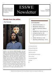 ESSWE Newsletter, Vol. 3. No. 2 (Fall 2012) - European Society for ...