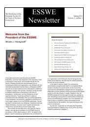 ESSWE Newsletter, Vol. 2, No. 1 (Spring 2011) - European Society ...