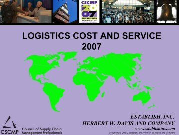 LOGISTICS COST AND SERVICE 2007 - Supply Chain Consulting