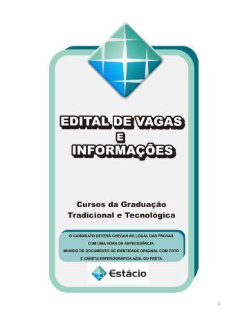 Edital do Vestibular - Universidade Estácio de Sá