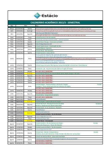 CALENDÁRIO ACADÊMICO 2012/2 - SEMESTRAL