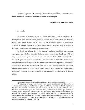 Violência e gênero – A construção da mulher como - Universidade ...